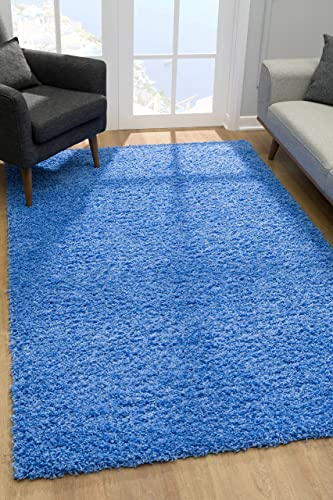 Malibu Collection Modern Shaggy Area Rug, 9 x 12 , Blue