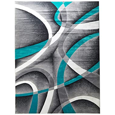 Persian Area Rugs 8x11 2305 Turquoise White Swirls 7'10 x10'6 Modern Abstract Area Rug
