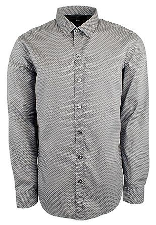 376708283 Hugo Boss Men's Sharp Fit Cotton Printed Casual Shirt-DG-XL Dark Grey