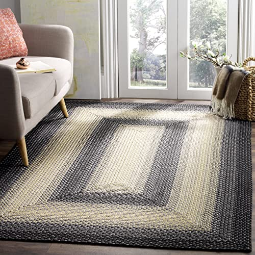 Safavieh Braided Collection BRD311A Hand Woven Black and Grey Area Rug 3 x 5