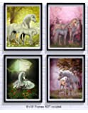 Unicorn Room Decor Art Prints 4 Pack | Set of Four Photos 8x10 Unframed | Great Gift for Unicorn Party Supplies or Unicorn Girls Birthday
