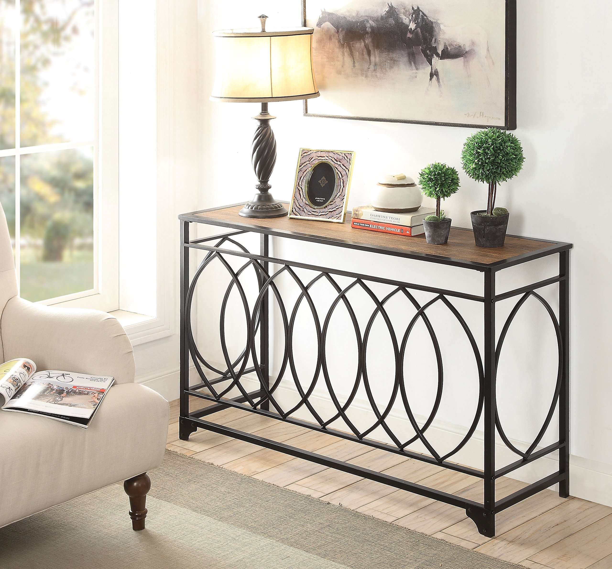 Vintage Brown Finish Black Metal Circle Design Console Sofa Table by eHomeProducts