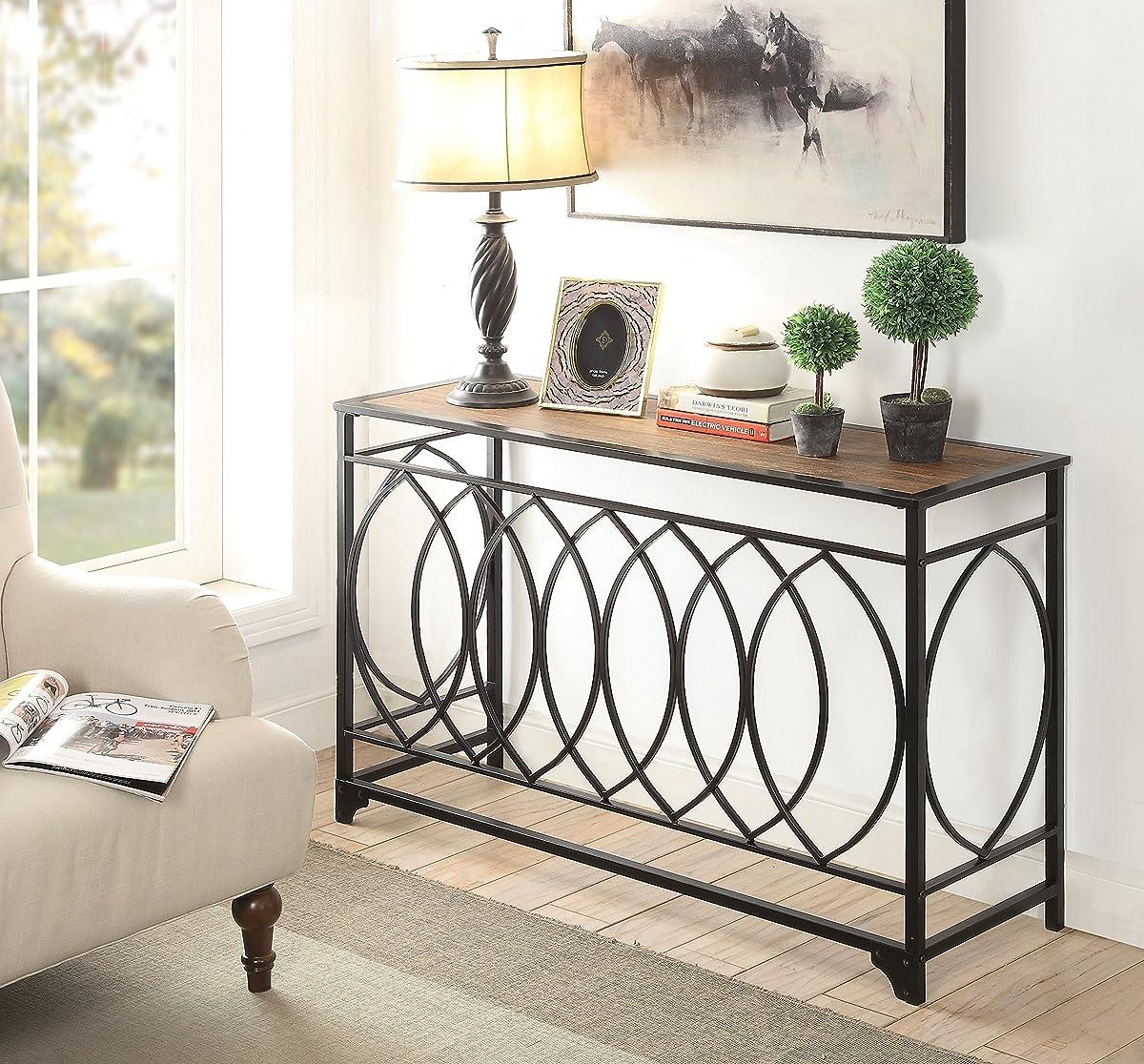 Vintage Brown Finish Black Metal Circle Design Console Sofa Table