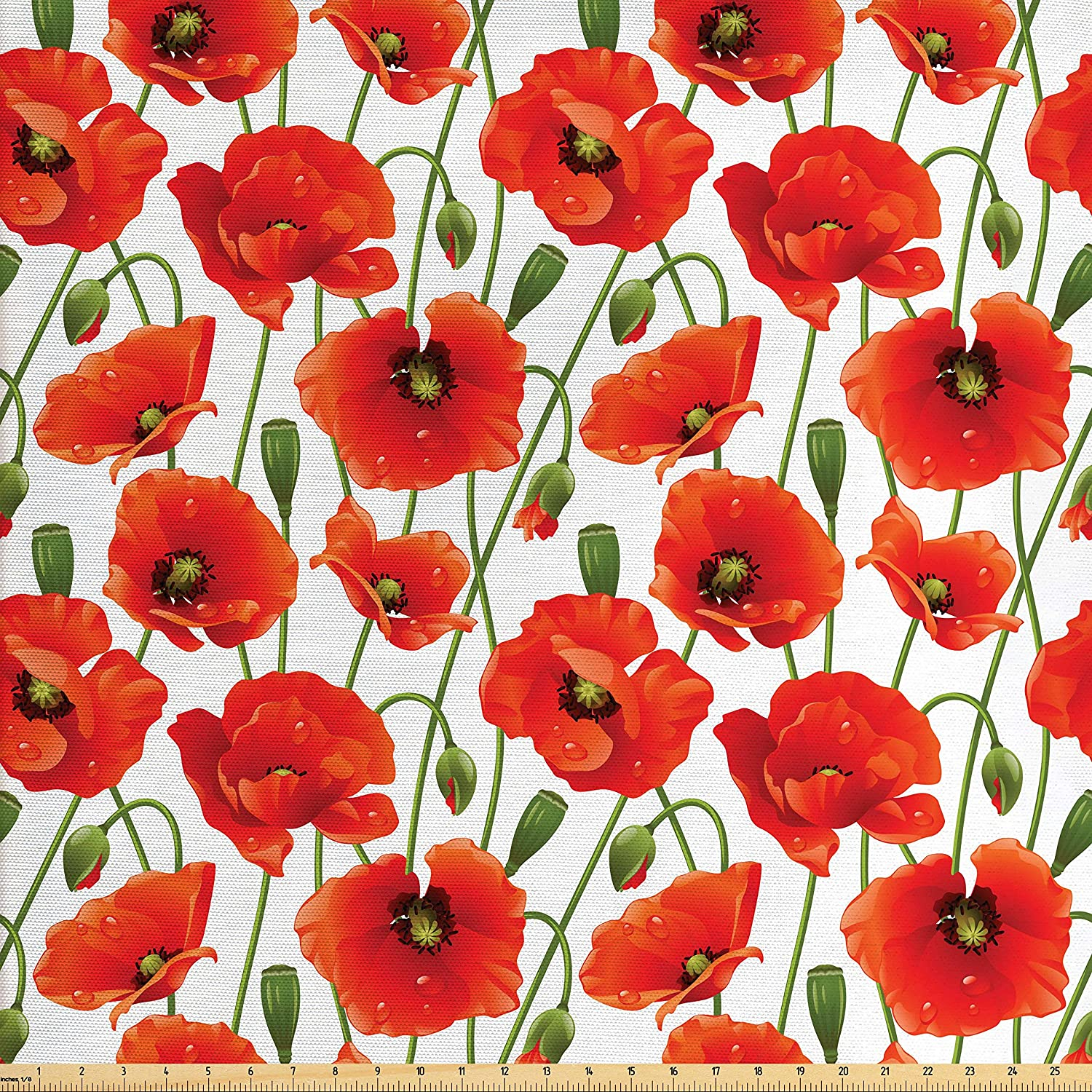 Amazon Ambesonne Flower Fabric By The Yard Poppy Flowers Bloom