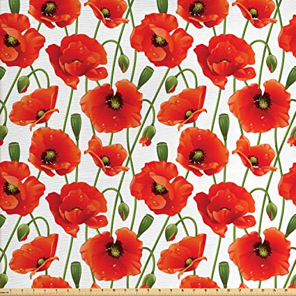 Ambesonne Flower Fabric By The Yard Poppy Flowers Bloom Design Buds Water Droplets Dew Morning