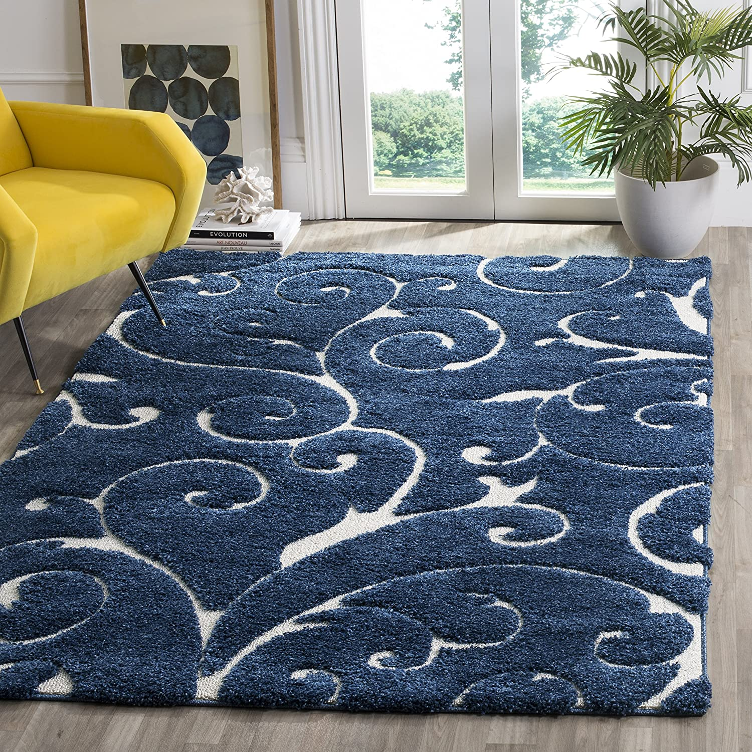 Dark bluee Cream 3'3  x 5'3  Safavieh Florida Shag Collection SG455-1290 Scrolling Vine Ivory and Black Graceful Swirl Area Rug (6' x 9')