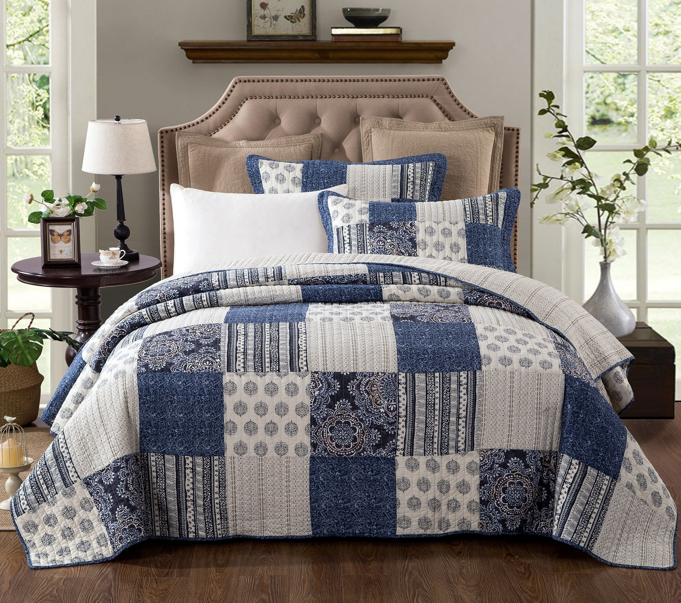 DaDa Bedding Patchwork Bedspread Set - Denim Blue Elegance Cotton Quilted - Bright Vibrant Multi Colorful Navy Floral - Full - 3-Pieces