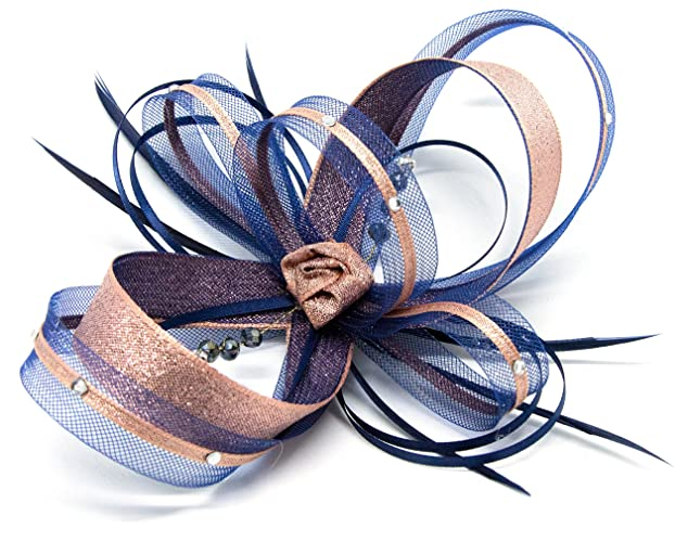 Navy blue fascinator with Rose Gold lurex trim and sparkling ... 3db0f6894f9