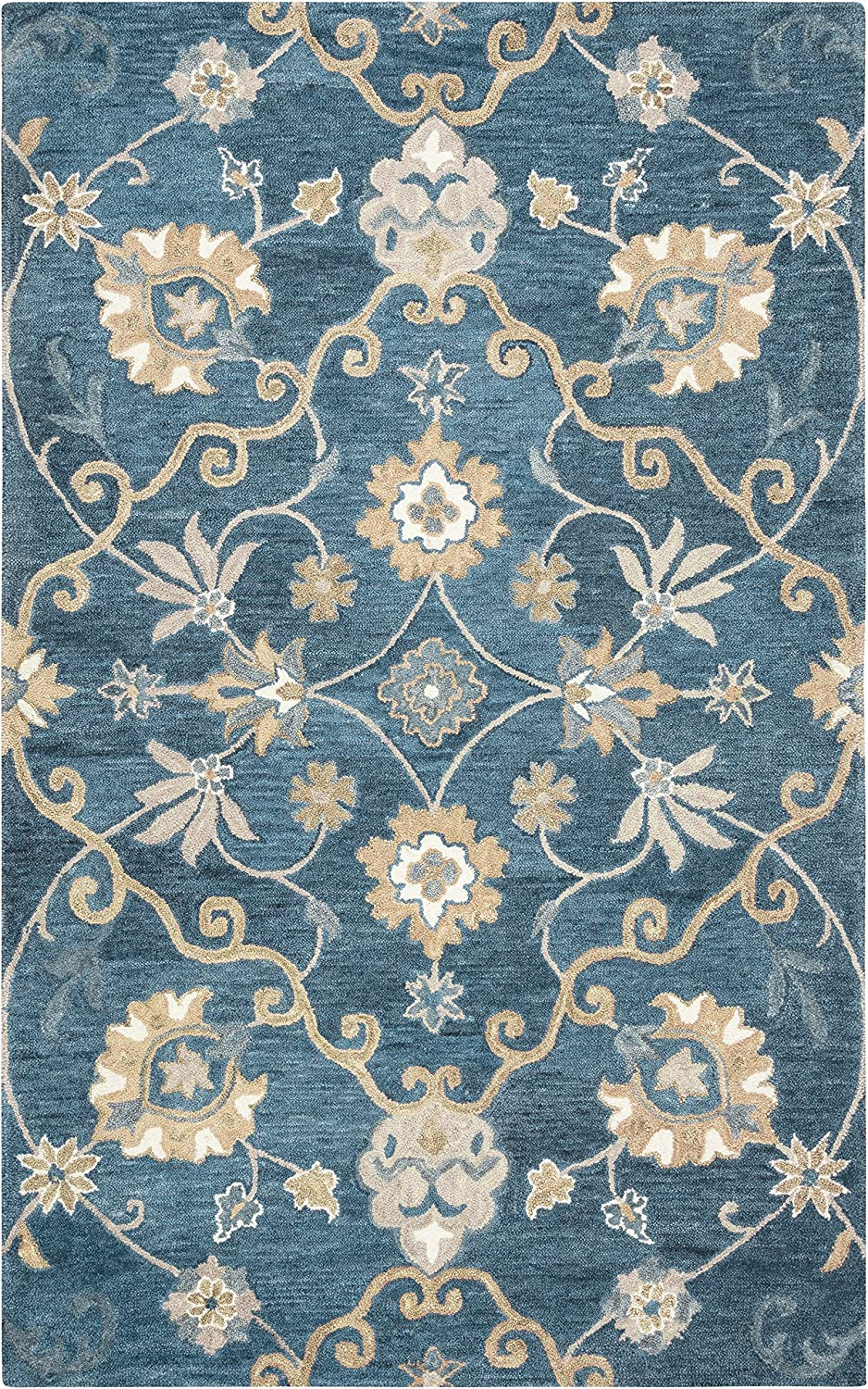 """Rizzy Home Leone Collection Wool Area Rug, 2'6"""" x 8', Blue/Brownish Orange Traditional Motifs"""
