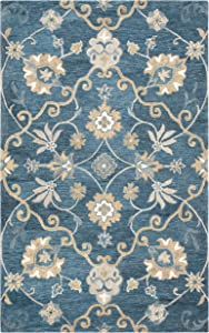 "Rizzy Home Leone Collection Wool Area Rug, 2'6"" x 8', Blue/Brownish Orange Traditional Motifs"