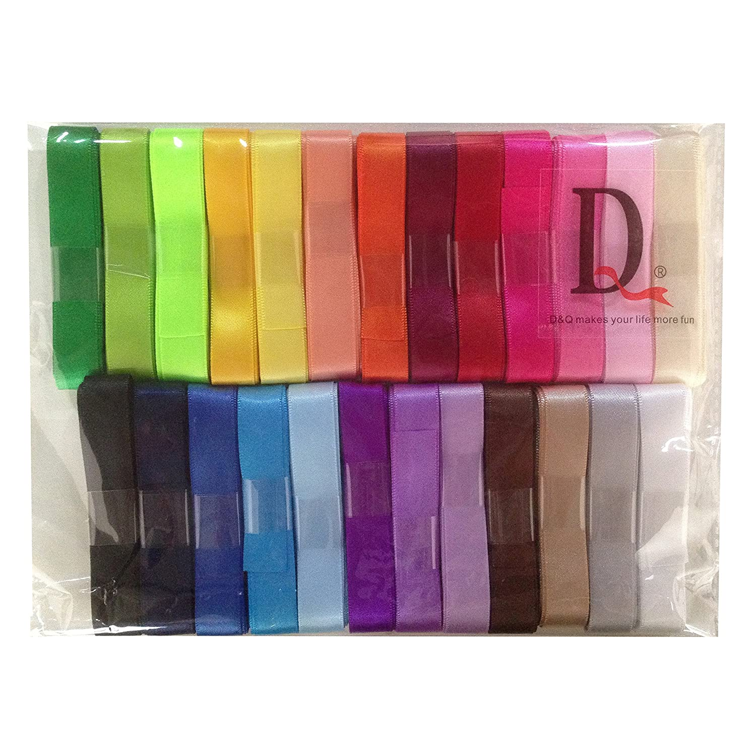 25x2yd DUOQU 7//8 Single Face Satin Ribbon 50 Yards 25 Colors Assorted