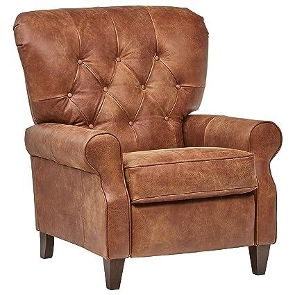 Strange Stone Beam Appleton Farmhouse Tufted Leather Recliner 35W Saddle Brown Creativecarmelina Interior Chair Design Creativecarmelinacom