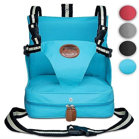 KIDUKU® Trona portátil de bebés, cojín elevador para viaje, asiento portátil para niños (Turquesa)