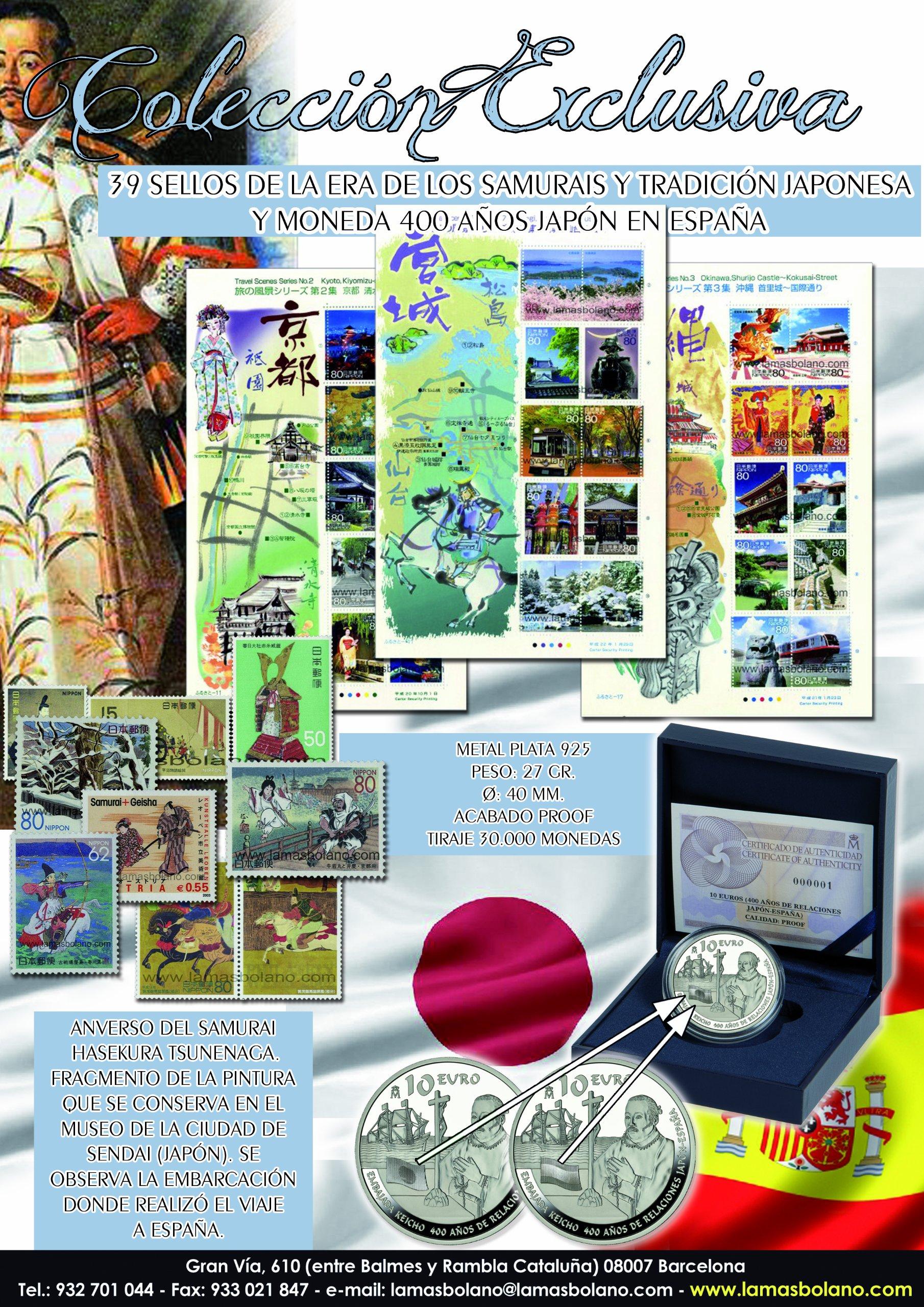 SAMURAIS TRADICION JAPONESA + MONEDA PRINCIPE HASEKURA TSUNENAGA COLECCION SELLOS LAMAS BOLAÑO PACK FILATELIA NUMISMATICA: Amazon.es: LAMAS BOLAÑO: Libros
