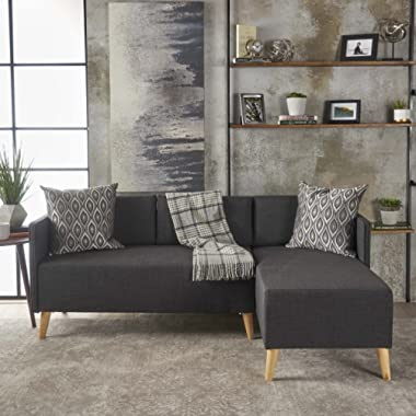 GDF Studio 301461 Andresen Mid Century Modern Muted Dark Grey Fabric Chaise Sectional, Natural