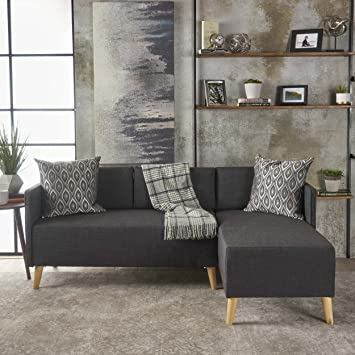 Strange Christopher Knight Home Andresen Mid Century Modern Fabric Chaise Sectional Muted Dark Grey Natural Onthecornerstone Fun Painted Chair Ideas Images Onthecornerstoneorg