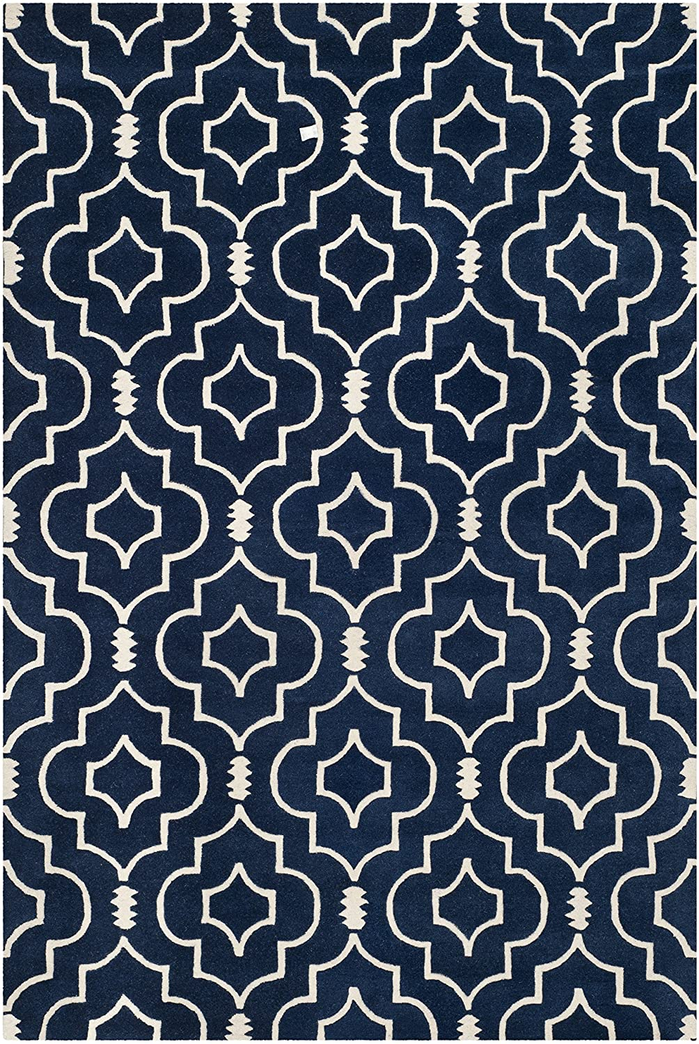 Safavieh Chatham Collection CHT736B Handmade Blue and Ivory Wool Area Rug, 2 feet by 3 feet (2' x 3') CHT736B-2
