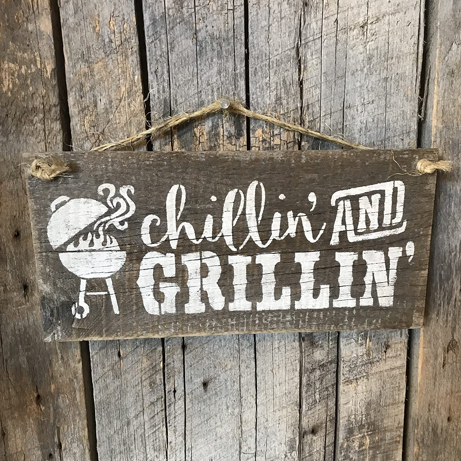 Chillin' And Grillin' Barn Wood Wall Art