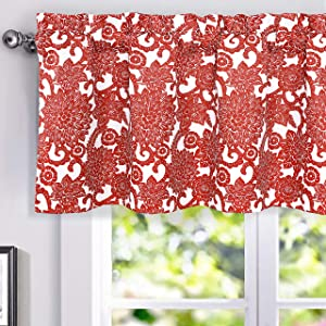 DriftAway Daisy Dahlia Blooming Flower Floral Lined Thermal Insulated Energy Saving Window Curtain Valance for Living Room Bedroom Kitchen 2 Layers Rod Pocket 52 Inch by 18 Inch plus 2 Inch Header Red