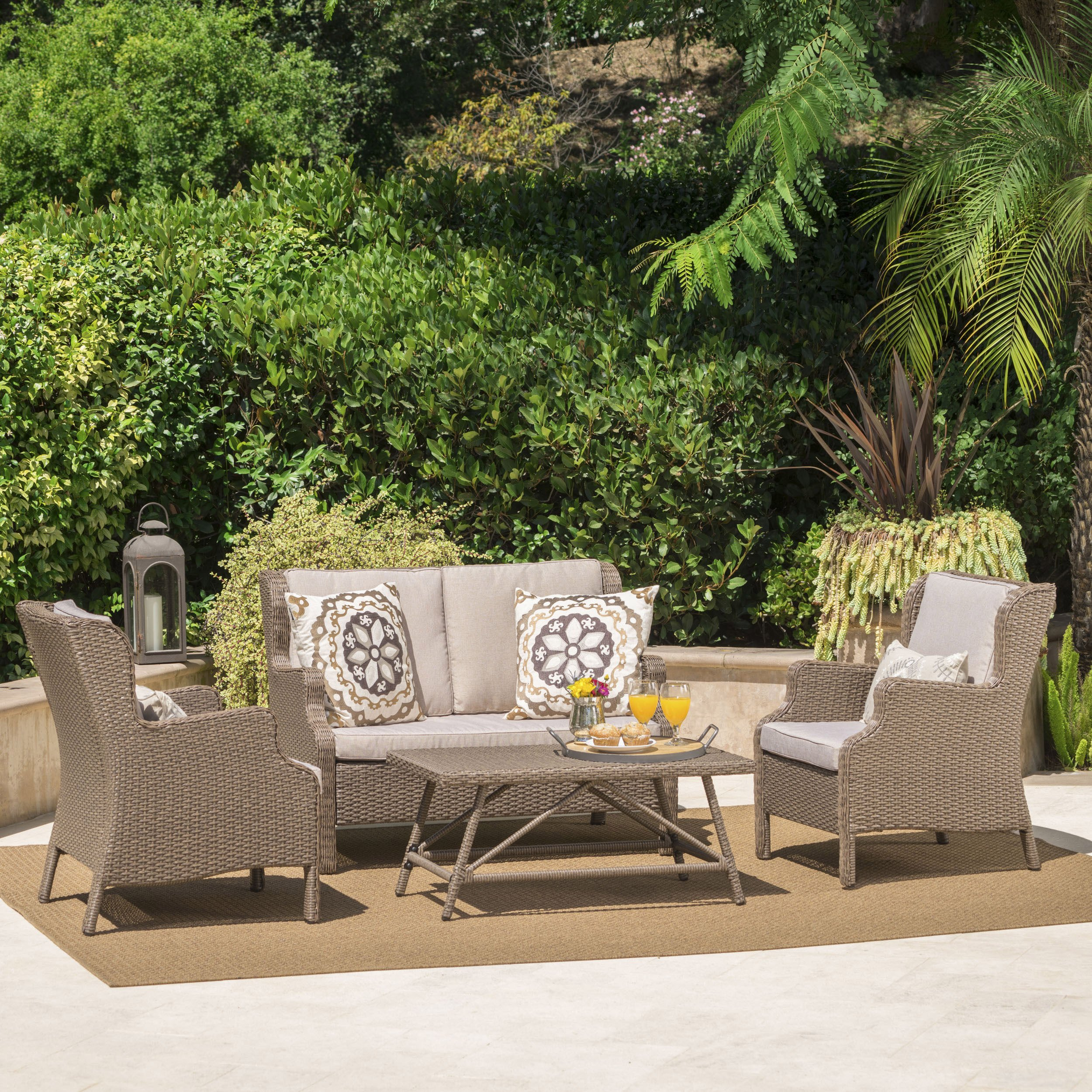 Lantana Outdoor 4 Piece Light Brown Wicker Chat Set with Textured Beige Water Resistant Cushions by Great Deal Furniture