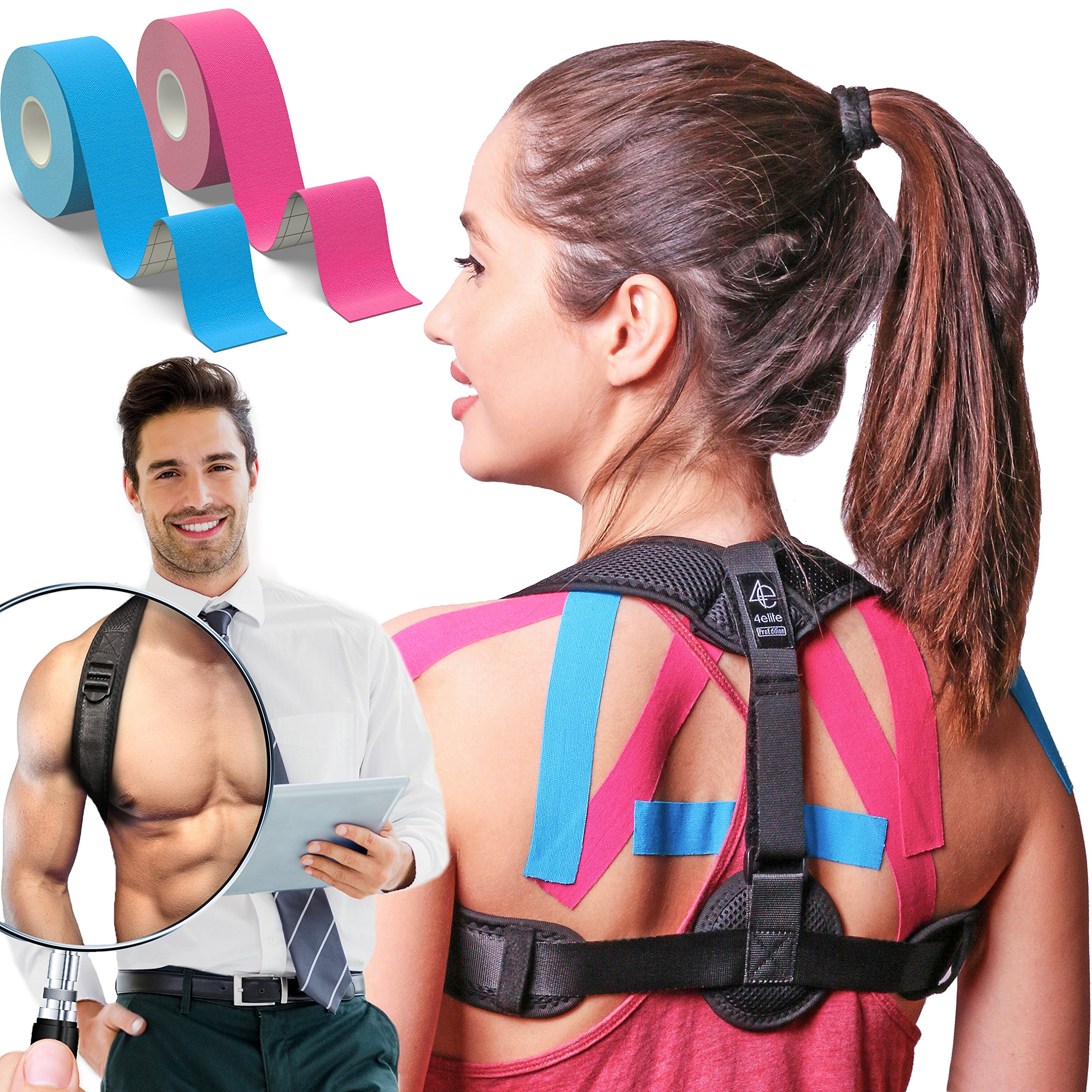 Posture Corrector for Women and Men | Front Adjustable Clavicle Brace | Back Brace for Posture Correction | Improve Bad Posture | Kinesiology Tape included by 4Elite