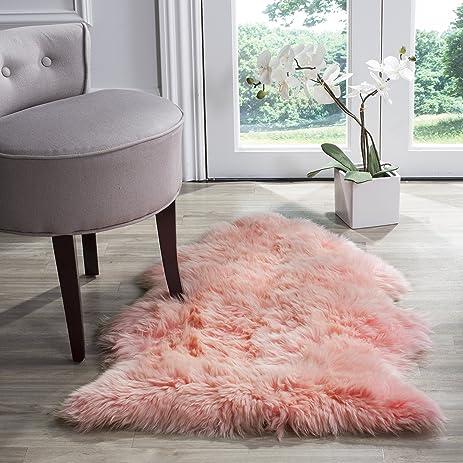 Safavieh Sheepskin Collection SHS121L Genuine Pelt Solid Pink Premium Shag Rug 2u0027 X