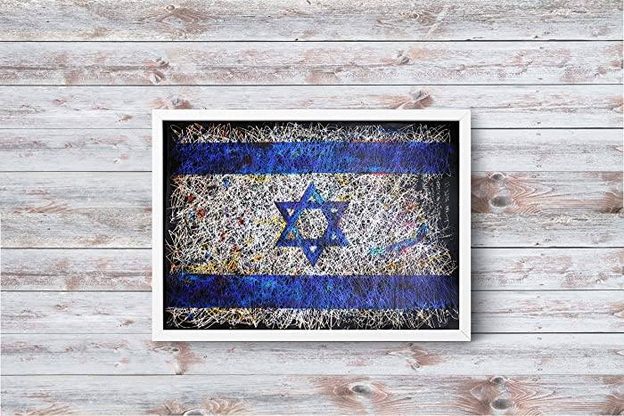 Amazon.com: Israel Flag wall art, Jewish art - Hand-Painted Flag of ...