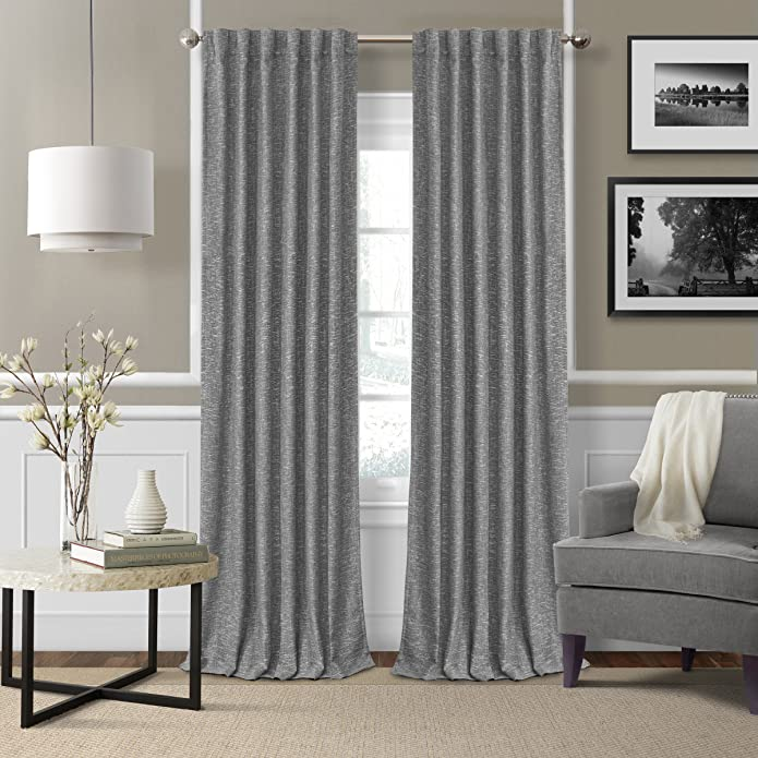 elrene home fashions 026865901139 3-in-1 blackout energy efficient lined linen rod pocket window curtain drape panel, 52u0022 x 84u0022, gray