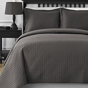 Extra Lightweight And Oversized Comfy Bedding Frame Embossing 3 Piece Bedspread  Coverlet Set (King