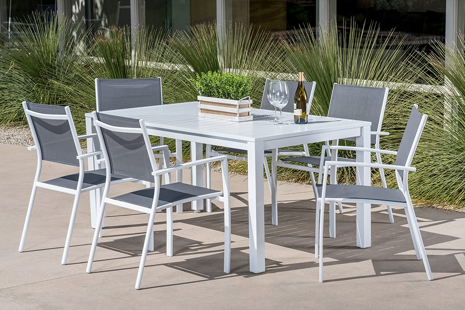 "Mōd Furniture HARPDNS7PC-WHT Harper 7-Piece Set with 6 Sling Chairs and a 78"" x 40"" Dining Table Outdoor Furniture, White"