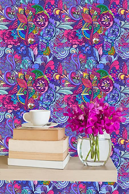 Removable Wallpaper Mural Peel Stick Abstract Flowers In