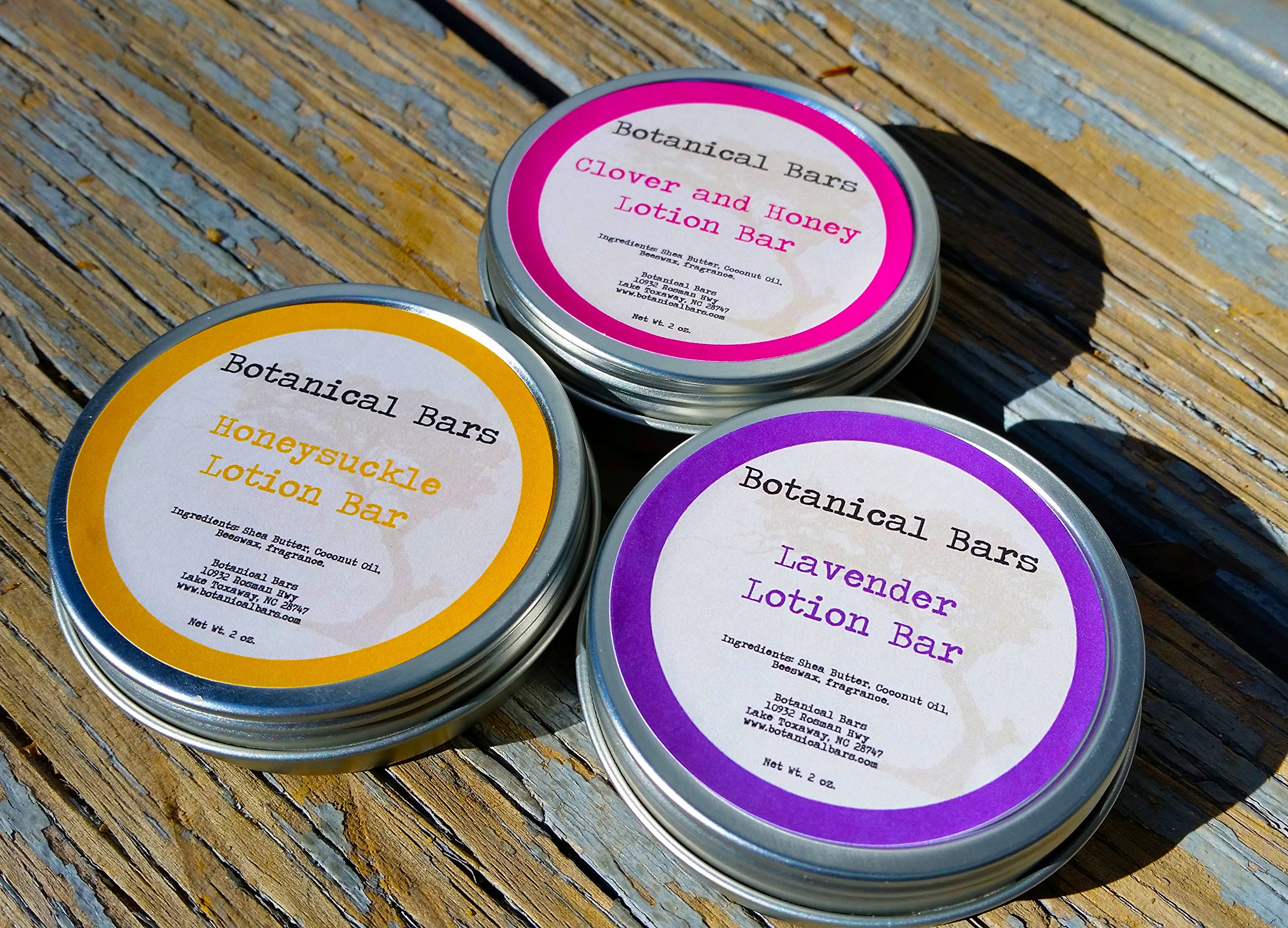 Floral Lotion Bar Set - 3 Lotion Bars 2oz Each - Lavender, Honeysuckle, and Clover and Honey by Botanical Bars
