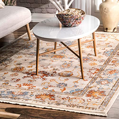 nuLOOM Mallie Faded Fringe Area Rug, 8 10 x 12 , Ivory