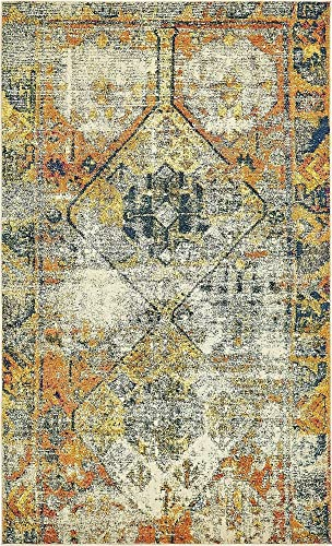 Unique Loom Monterey Collection Tribal Bohemian Vintage Bright Colors Beige Area Rug 5 0 x 8 0