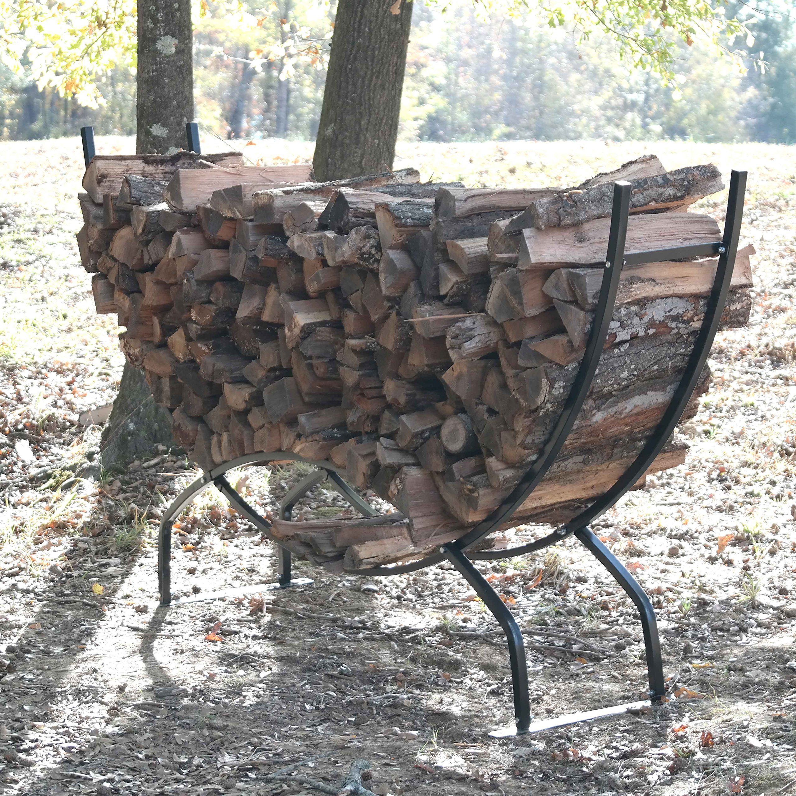 Titan Outdoors Heavy Duty Firewood Log Rack Holder (98'' Crescent) by Titan Outdoors