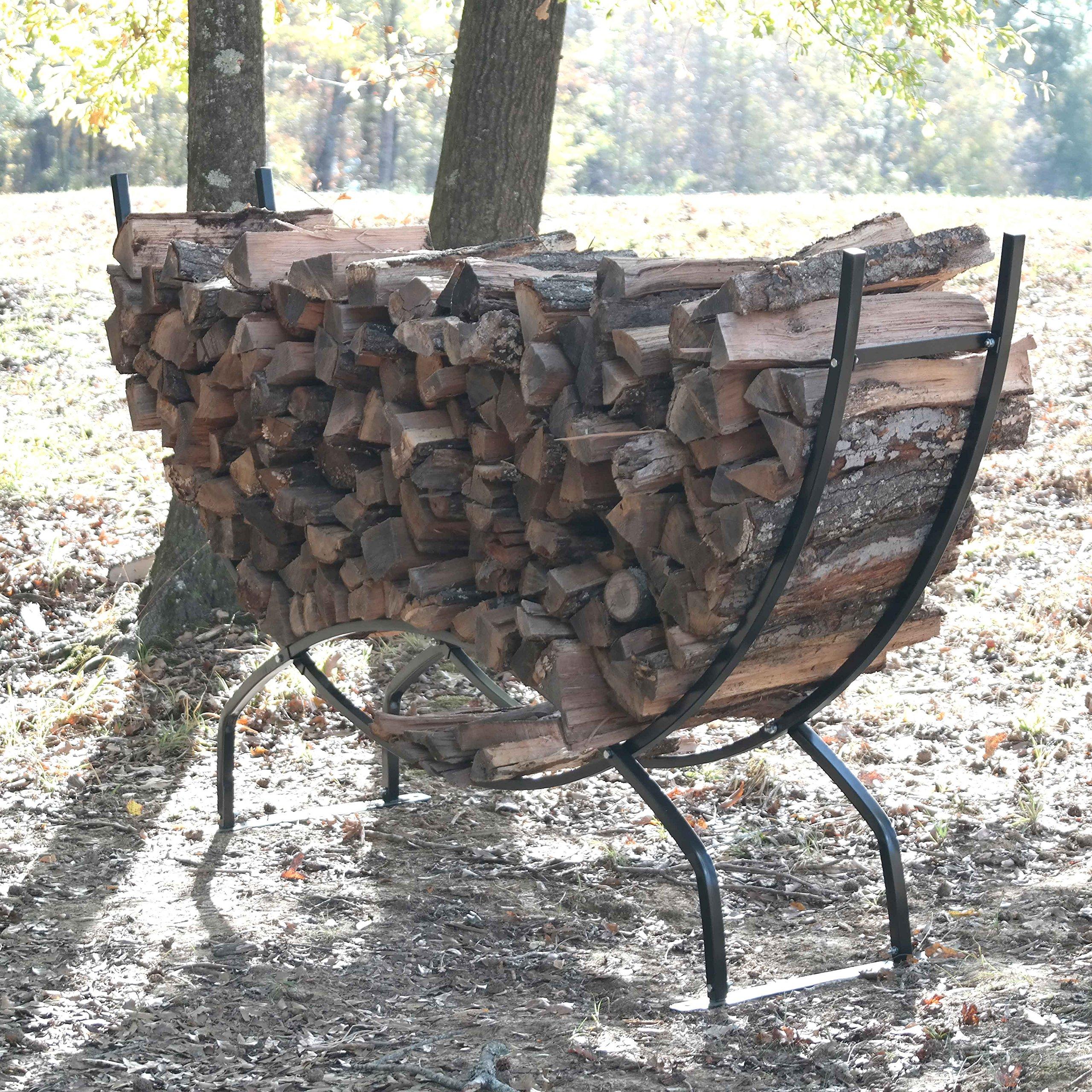 Titan Outdoors Heavy Duty Firewood Log Rack Holder (98'' Crescent)