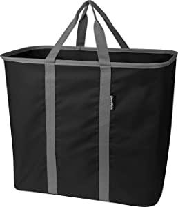 CleverMade Collapsible Laundry Tote, Large Foldable Clothes Hamper Bag, LaundryCaddy CarryAll XL Pop Up Storage Basket with Handles, Black/Charcoal