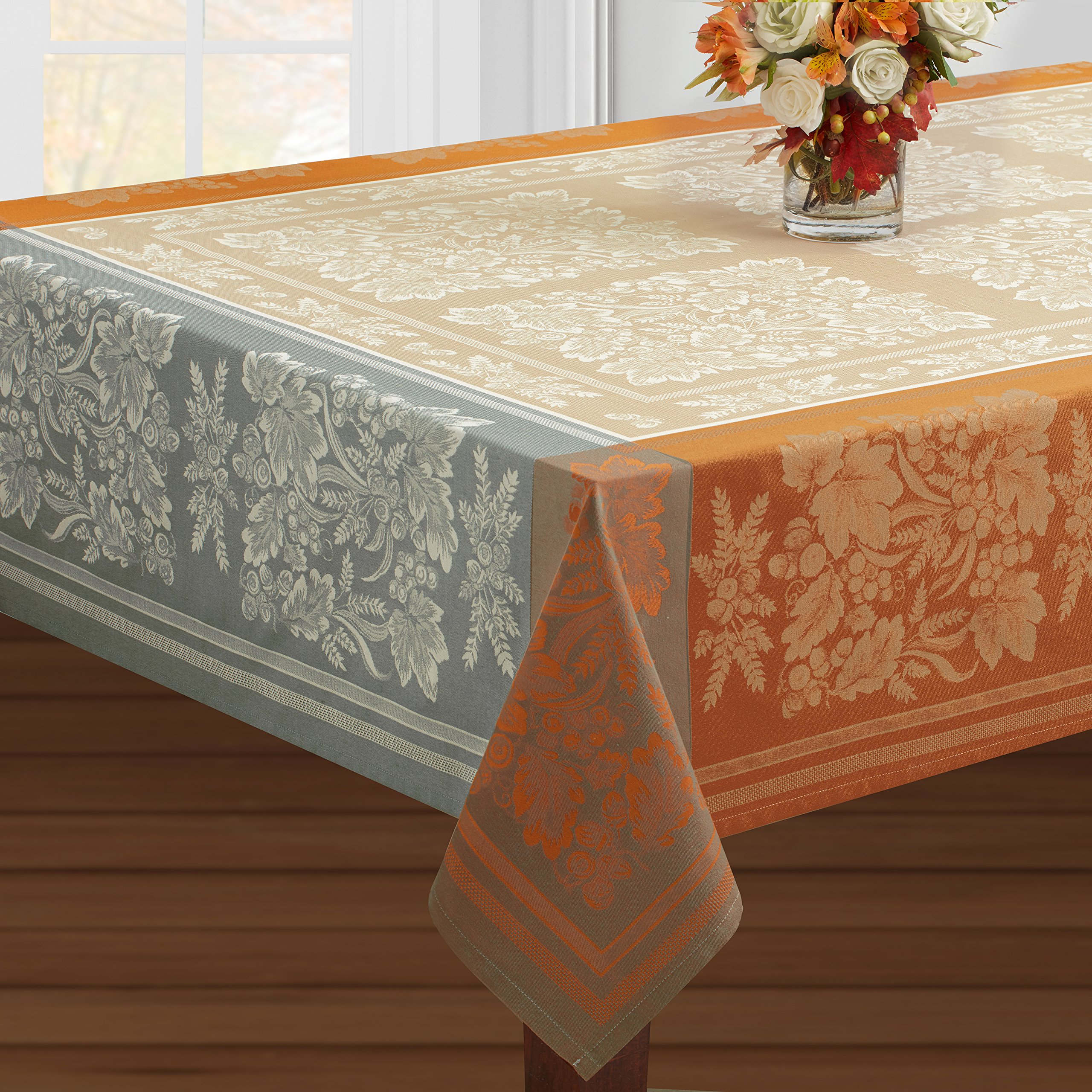 Benson Mills Gathering Engineered Jacquard Tablecloth (60'' X 120'' Rectangular, Taupe) For Harvest, Fall and Thanksgiving by Benson Mills