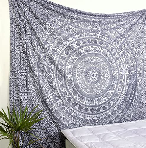Popular Handicrafts New Launched Original Silver Elephant Tapestry Wall Hanging Indian Mandala Wall Art, Hippie Wall Hanging, Bohemian Bedspread Metallic Shine Tapestries King Size