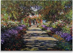 Monet Wall Art Collection Canvas Pathway in Monet's Garden at Giverny, 1901 Prints Wrapped Gallery Wall Art | Stretched and Framed Ready to Hang 24X32