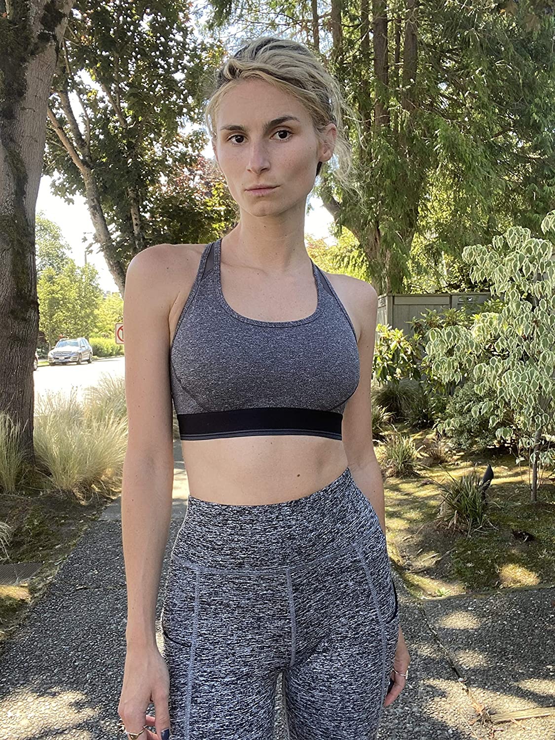 Essentials Women's Control Tech Racerback Sports Bra with Power Mesh Back: Clothing