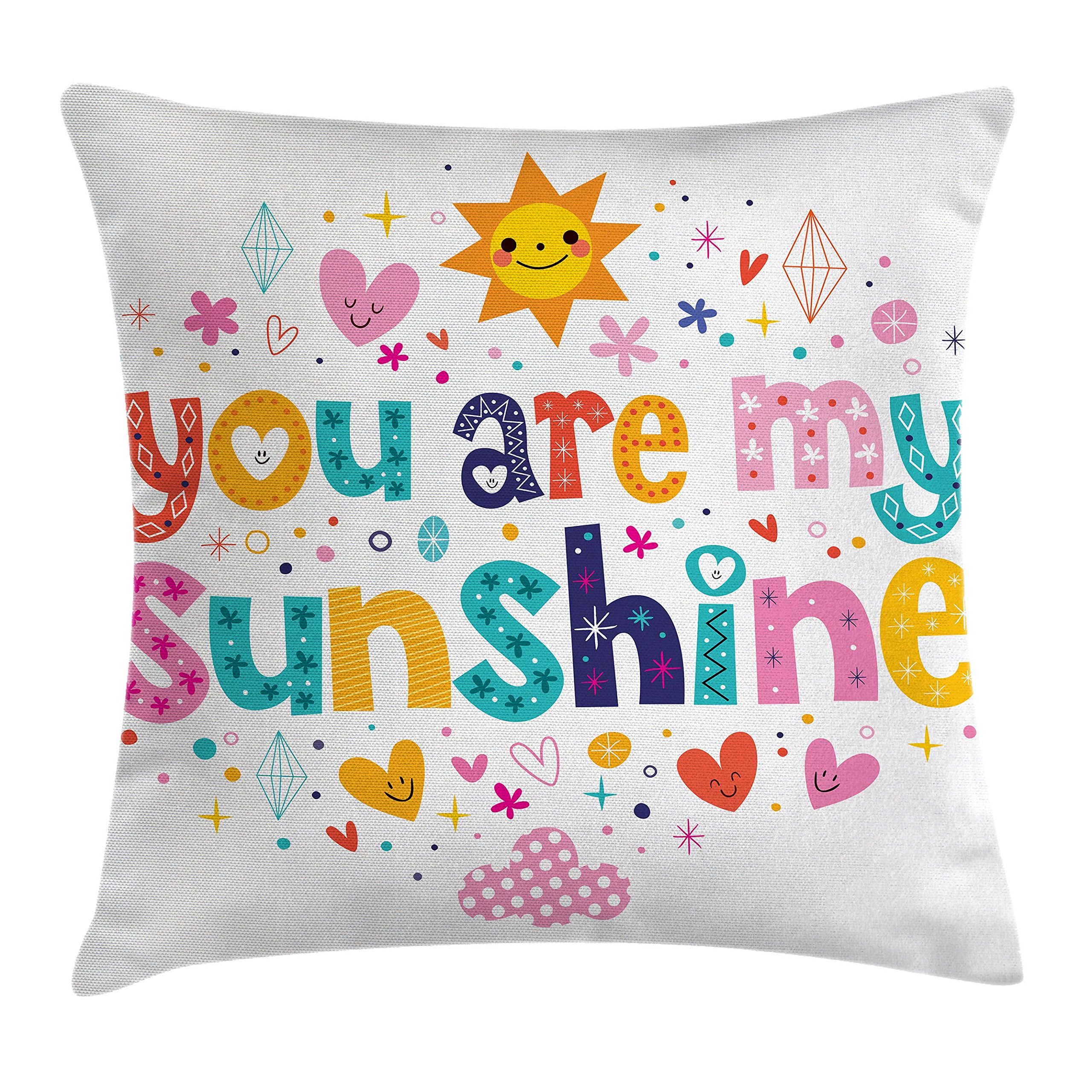 Ambesonne Quotes Decor Throw Pillow Cushion Cover, Cute Love Text Print Made by Fun Happy Animal and Heart Figures Kids Nursery Theme, Decorative Square Accent Pillow Case, 16 X 16 Inches, Multi
