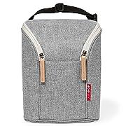Skip Hop Insulated Breastmilk Cooler and Baby Bottle Bag, Grab & Go Double, Grey Melange