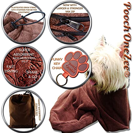 amazon com poochonezee dry fast dog bag water mud and dirt super absorbent microfiber solution towel thick neck hook and loop strap small pet
