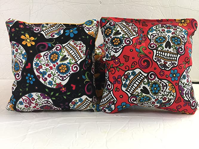 Sugar Skull Cornhole Bags, Sugar Skull Bean Bags, Day Of The Dead Toss Bags