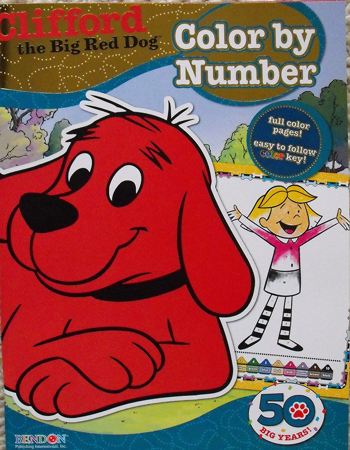 amazon com clifford the big red dog color by number coloring book
