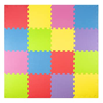 Foam Play Mats 16 Tiles Borders Safe Kids Puzzle Playmat Non Toxic Interlocking Floor Children Baby Room Soft Eva Thick Color Flooring Square