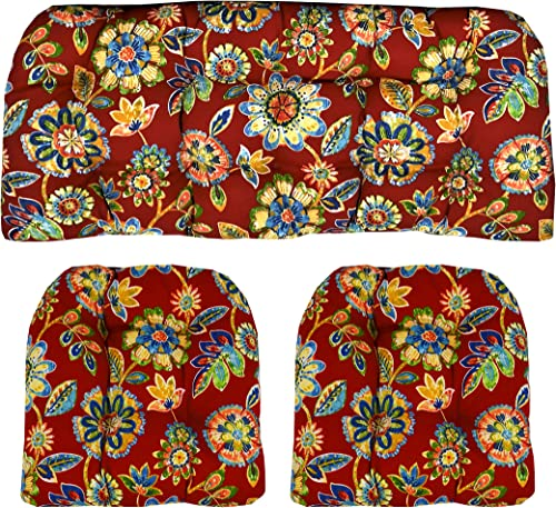 RSH D cor Indoor Outdoor Wicker Cushions Two U-Shape and Loveseat 3 Piece Set Daelyn Cherry Red with Blue Yellow, Green Floral