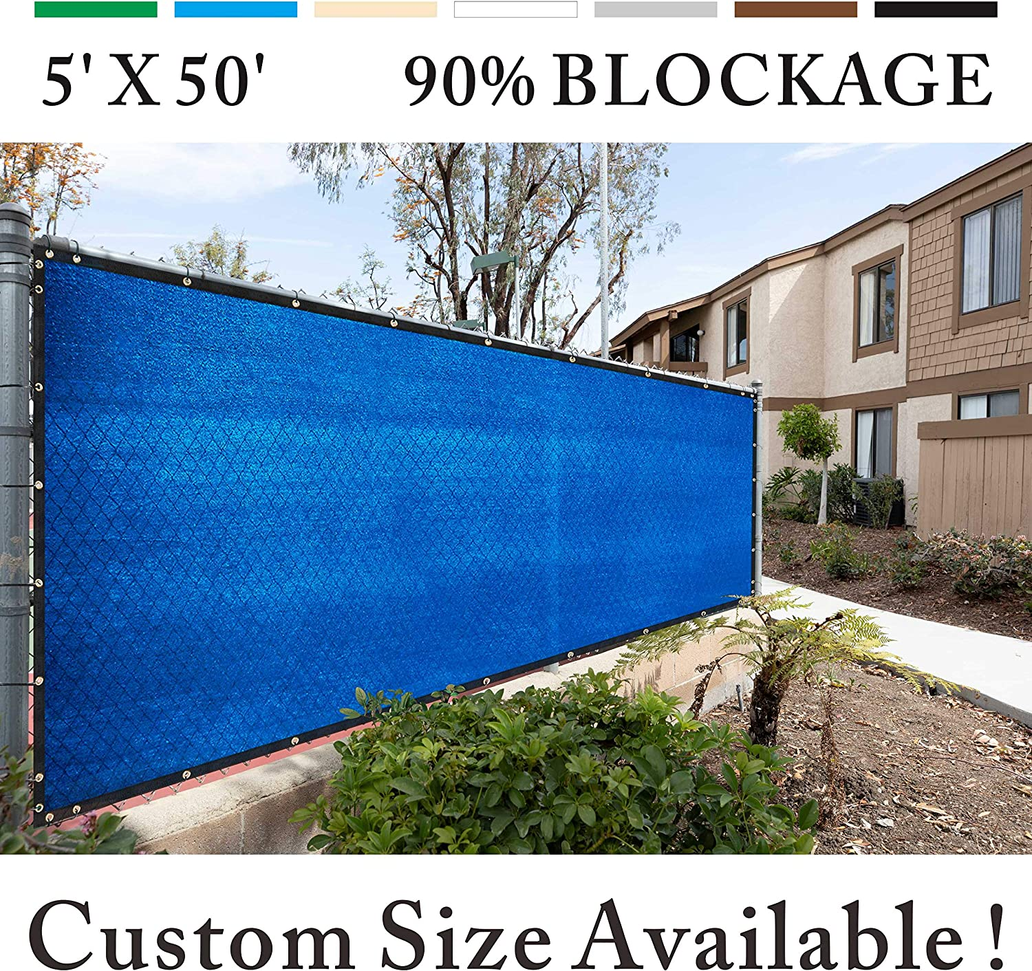 Royal Shade 5 x 50 Blue Fence Privacy Screen Windscreen Cover Netting Mesh Fabric Cloth Get Your Privacy Today Stop Neighbor Seeing-Through Stop Dogs Barking Protect Property WE Make Custom Size