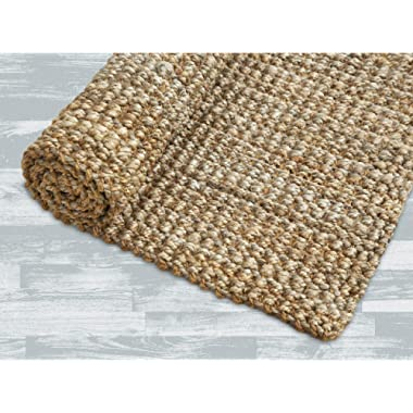 Iron Gate -Handspun Jute Area Rug 24 x36 -Natural- Hand Woven by Skilled Artisans, 100% Jute Yarns, Thick Ribbed Construction, Reversible for Double The wear, Rug pad Recommended
